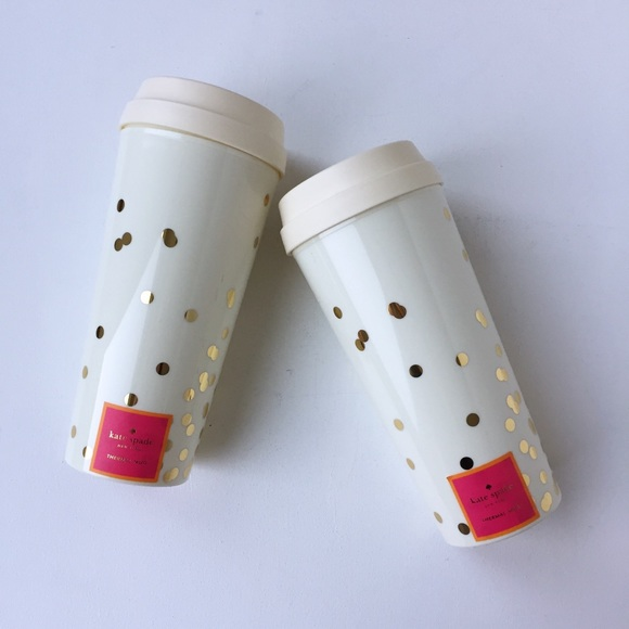 20abfd6a955 kate spade Accessories | Last 1 New Gold Dot Travel Thermal Mug ...